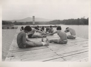 A photo of students preparing for a swim in the Furman Lake. The Lake was closed to recreational purposes in the early 1990s due to extremely low water quality levels. With help from the Shi Center, a comprehensive Lake Restoration project has been underway since 2006.